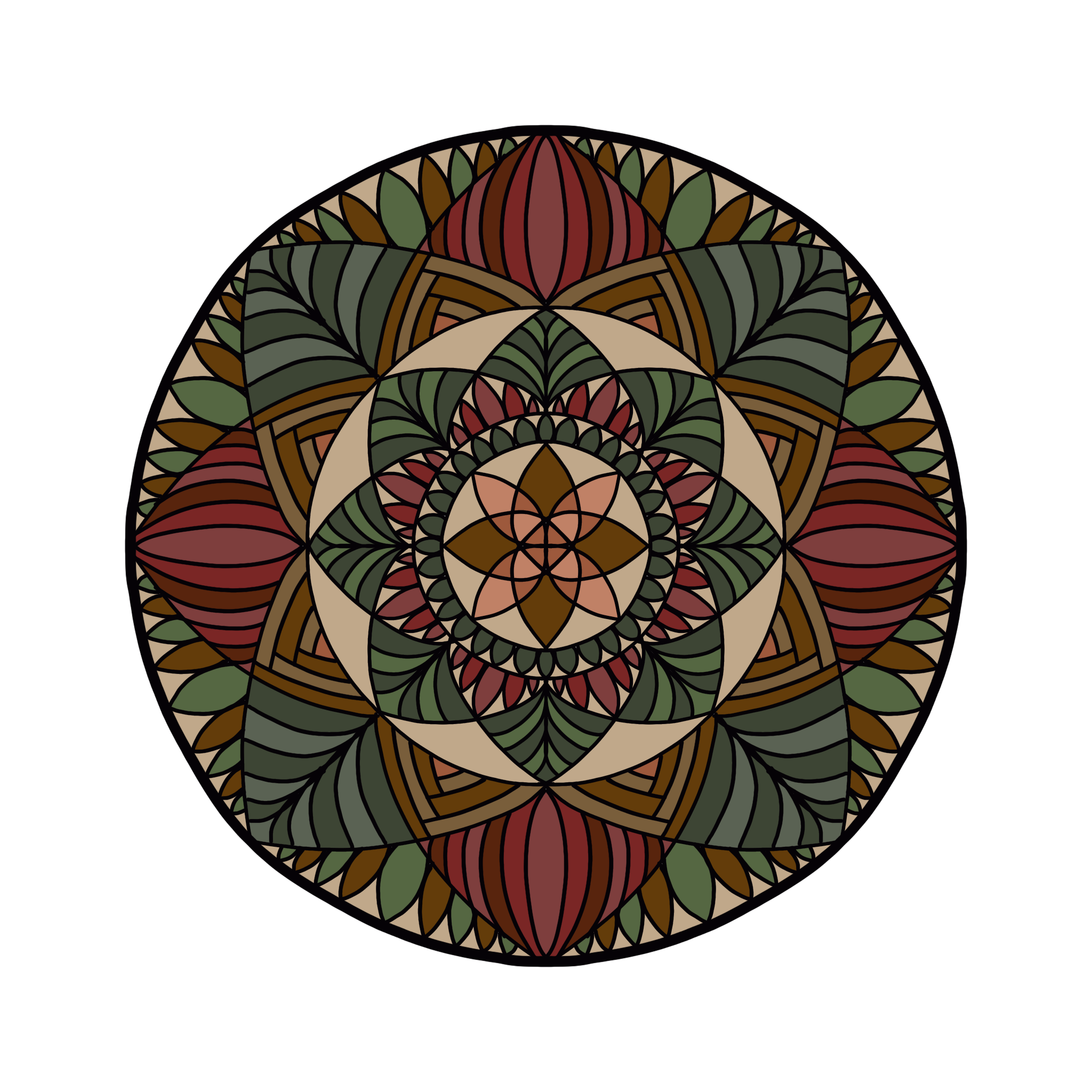 Digitally Colored Mandala 12